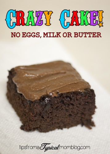 Crazy Cake Recipe. No Eggs, Milk or Butter.