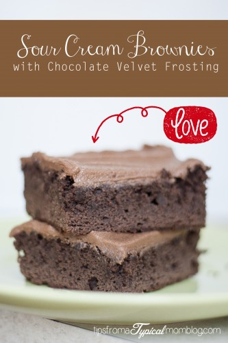 Sour Cream Brownies with Chocolate Velvet Frosting. From a mix, but so much better! From Tips From a Typical Mom.