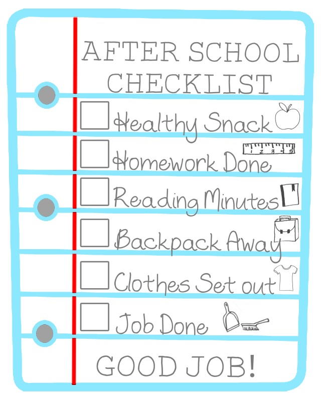 Calendar Organization Rules : After school checklist for kids free printable