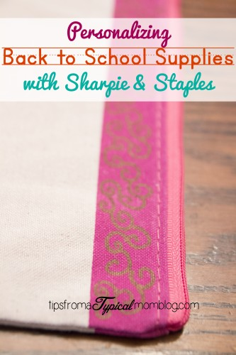 Personalizing School Supplies with Sharpie and Staples