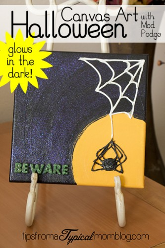 Glow in the Dark Halloween Canvas Wall Art with Mod Podge