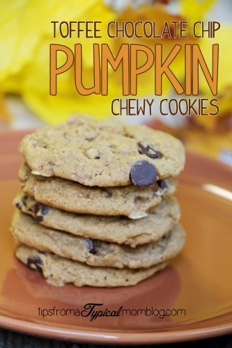 Pumpkin Toffee Chocolate Chip Chewy Cookies
