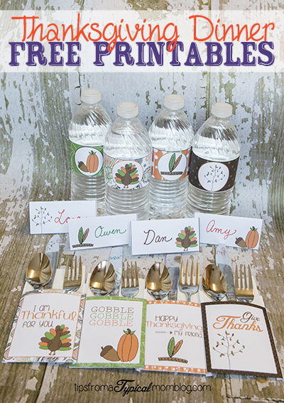 Thanksgiving Dinner Printables Utensil Holders Water
