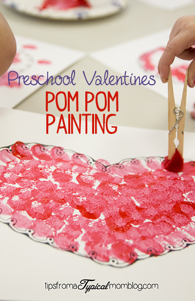 Valentine pom pom painting for preschoolers for Valentines crafts for kindergarten