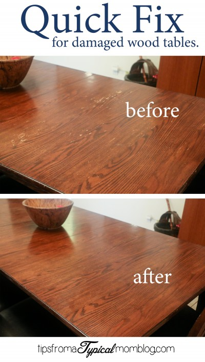 Quick Fix for Water Damaged Wood Dining Room Tables : Quick Fix for damaged dining room wood tables before and after e1431707149224 from www.tipsfromatypicalmomblog.com size 400 x 706 jpeg 73kB