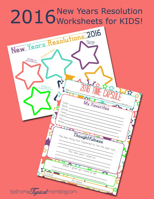 Making New Years Resolutions with your Kids- Free Printable Worksheets ...